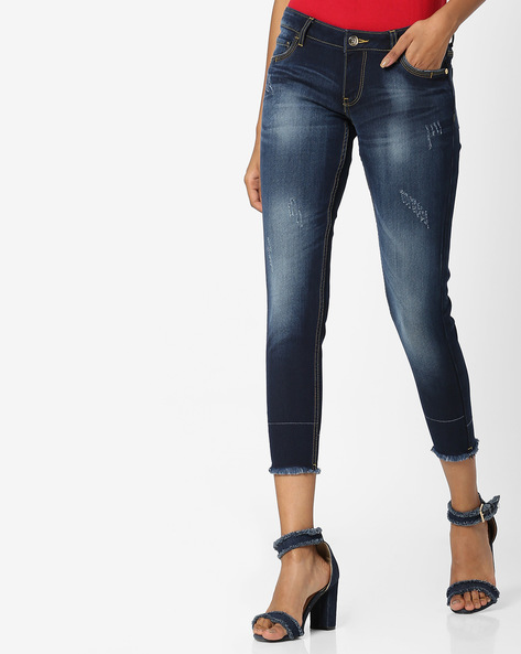 Distressed Jeans With Frayed Hems By DNMX ( Darkblue )