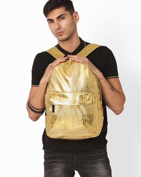 Reptilian Textured Backpack By Chasquido ( Gold )