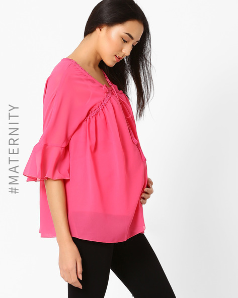 Maternity Top With Tasselled Tie-Up By Oxolloxo ( Pink )