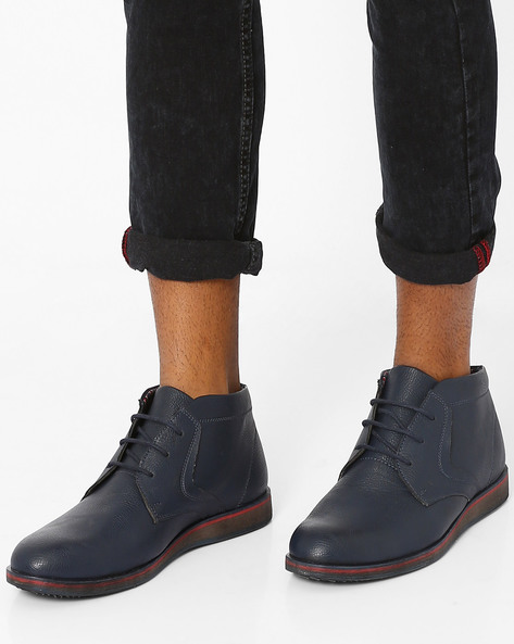 Faux-Leather Mid-Cut Casual Shoes By AJIO ( Navy )
