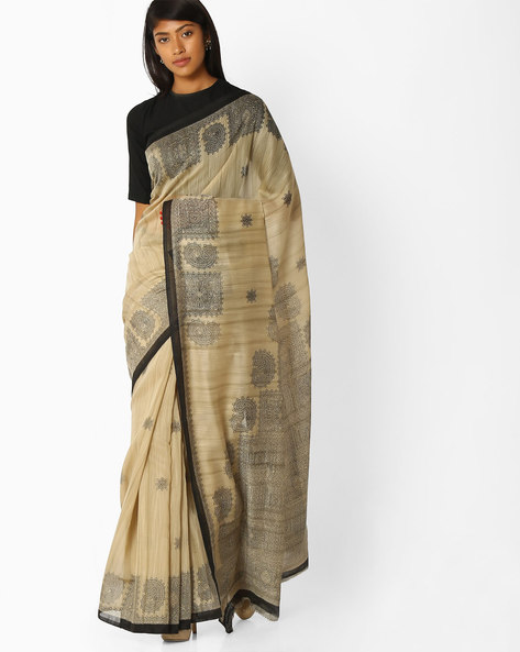 Printed Saree With Contrast Border By Pihu ( Grey )