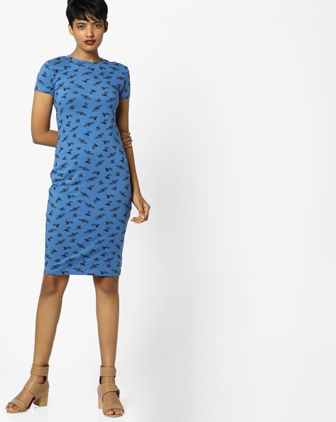 Printed Bodycon Dress By AJIO ( Blue )