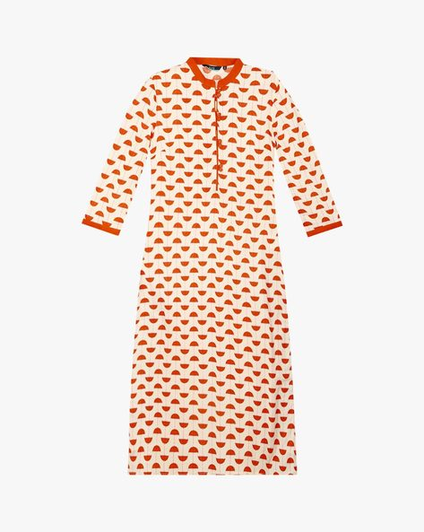 Printed Kurta With Mandarin Collar By AJIO ( Offwhite )