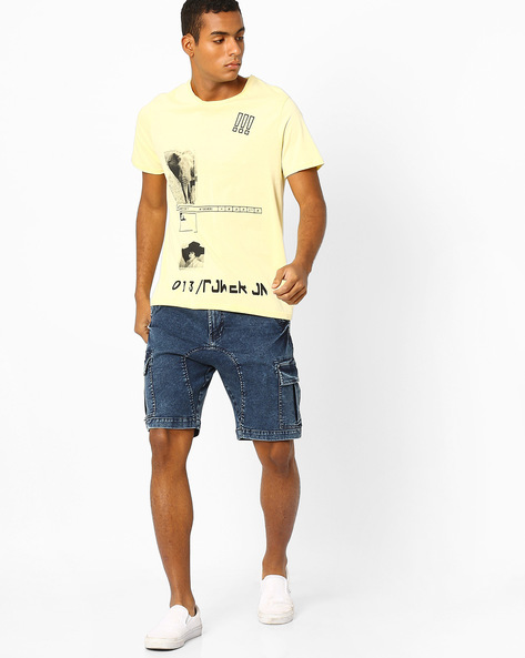Graphic Print Slim Fit T-shirt By AJIO ( Yellow )