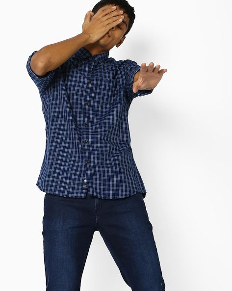 Checked Slim Fit Cotton Shirt By NETPLAY ( Blue )