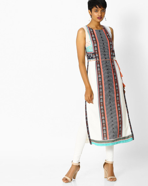 Printed Straight Kurta With Tassel Tie-Up By W ( White )
