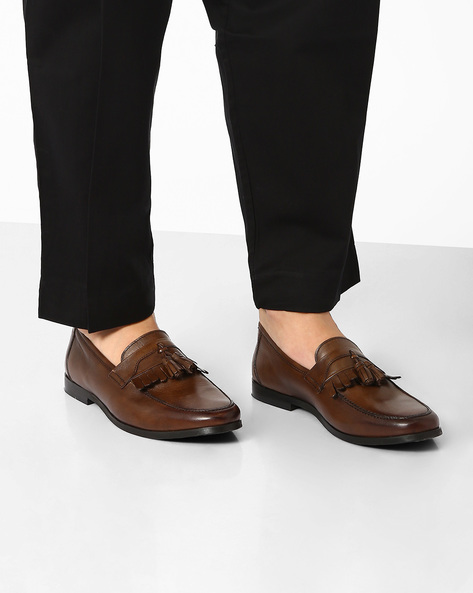 Genuine Leather Tasseled Loafers By Hats Off Accessories ( Brown )