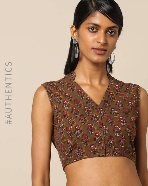 Handblock Print Cotton Sleeveless Mandarin Collar Blouse By Molcha ( Brown )