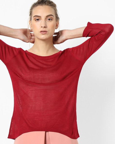 Knit Top With Dipped Hemline By Project Eve WW Casual ( Red )