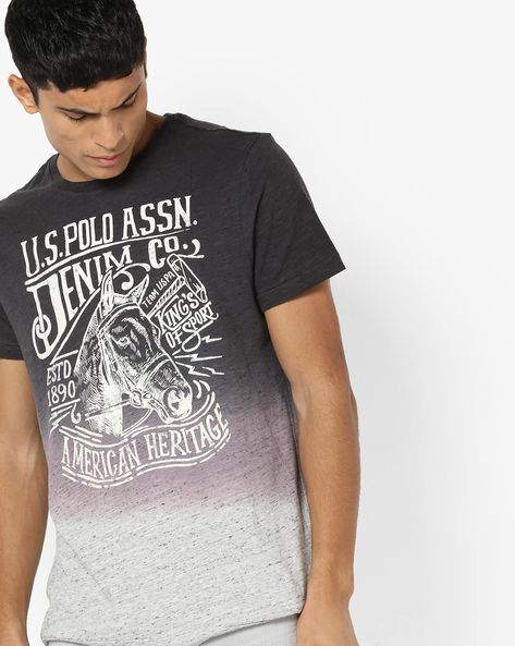 Graphic Print T-shirt With Dyed Effect By US POLO ( Assorted )