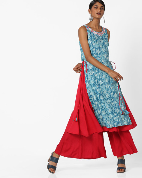 Floral Print Layered Kurta With Embroidery By AJIO ( Blue )