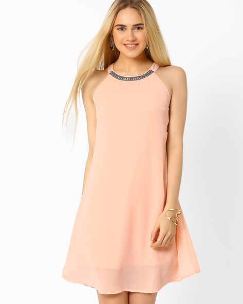 A-line Dress With Embellishments By AJIO ( Pink )