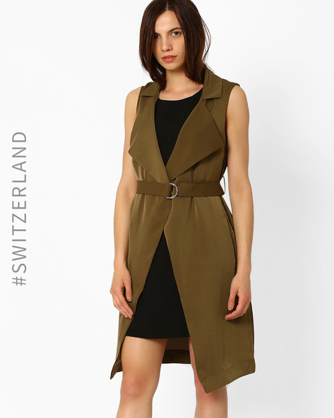 Sleeveless Trench Coat With Belt By TALLY WEiJL ( Olive )