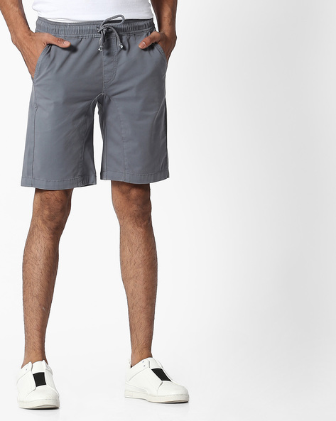 City Shorts With Elasticated Waist By Blue Saint ( Stone )