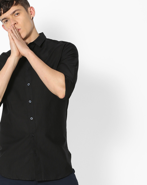 Slim Fit Cotton Shirt By Blue Saint ( Black )