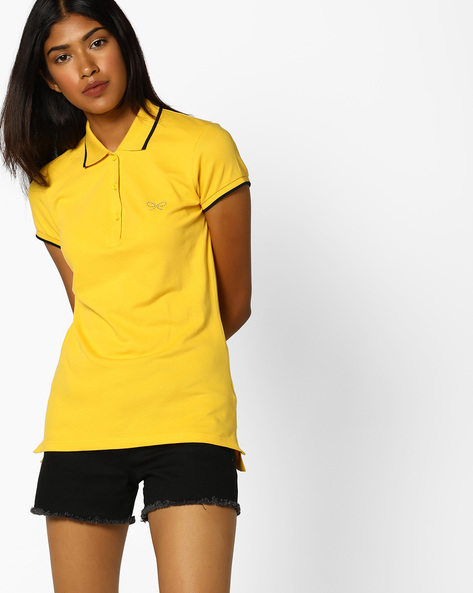 Polo T-shirt With Step Hems By BOSSINI ( Mustard )