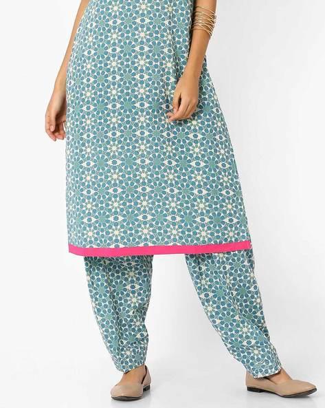 Printed Patiala Pants By AJIO ( Blue )