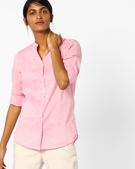 Mandarin Collar Cotton Shirt Top By Lee ( Pink )