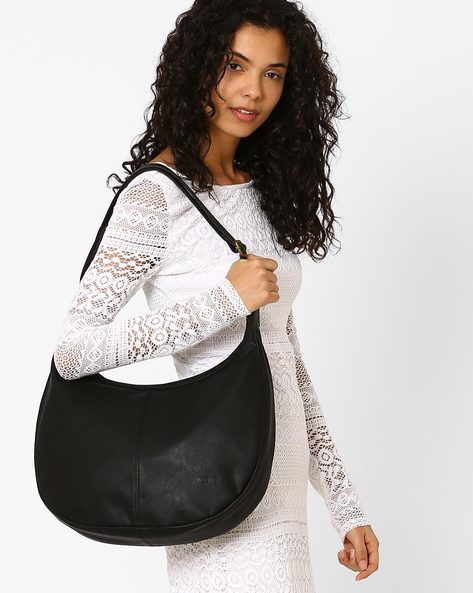 Hobo Bag With Adjustable Strap By Pockit ( Black )