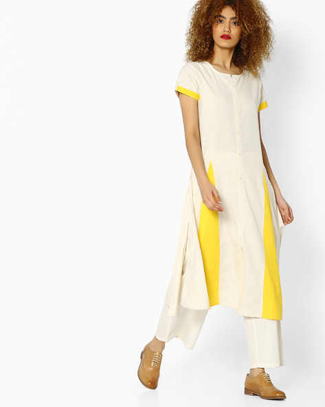 Flared Kurta With Button Placket By AVAASA MIX N' MATCH ( Offwhite )