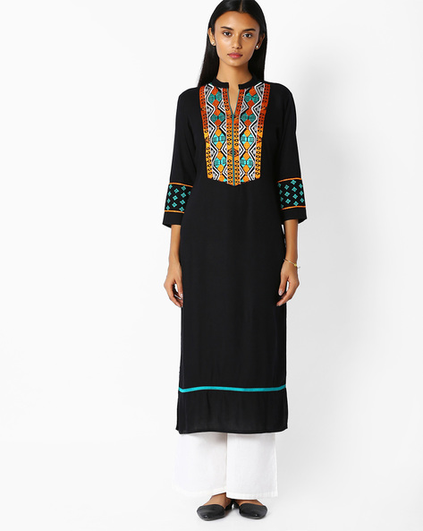 Straight Kurta With Embroidery By Jaipur Kurti ( Black )