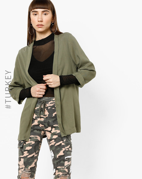 Open-Front Shrug With Long Sleeves By TRENDYOL ( Olive )