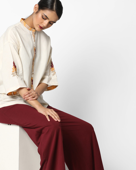 Boxy Shirt With Mandarin Collar By AJIO ( Beige )