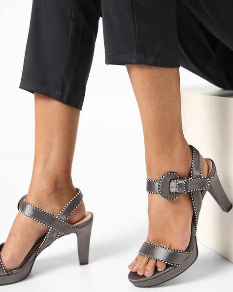 Strappy Chunky Heels With Buckle Closure By AJIO ( Grey )