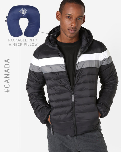 Convertible Ultralight Quilted Jacket With Hood By Point Zero ( Black )