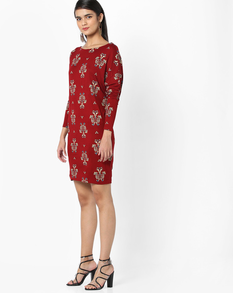 Printed Jersey Tunic With Tie-Up Back By AJIO ( Maroon )