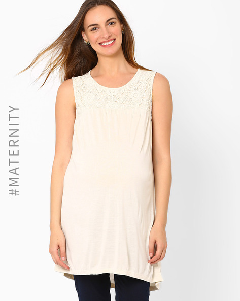 Crochet Panelled Maternity Top By AJIO ( Offwhite )