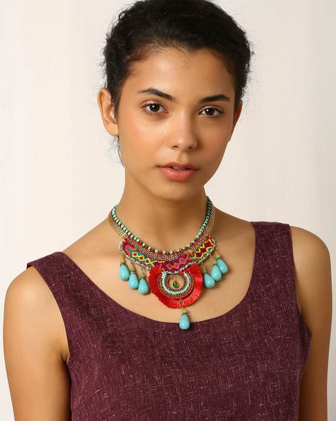 Glass Beaded Statement Necklace By Indie Picks ( Multi )