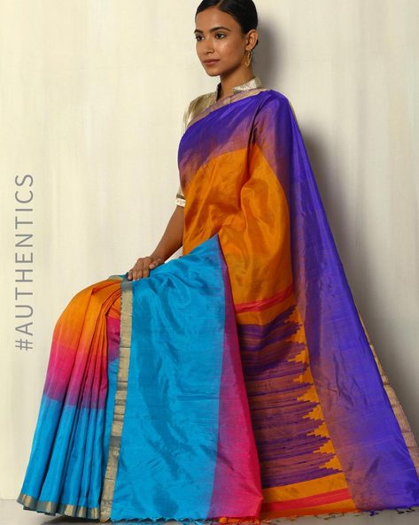 Handloom Colourblock Pure Silk Saree By Pretty Woman ( Mustard )