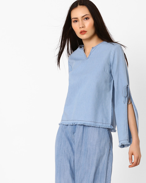 Denim Top With Slit Sleeves By AJIO ( Lightblue )