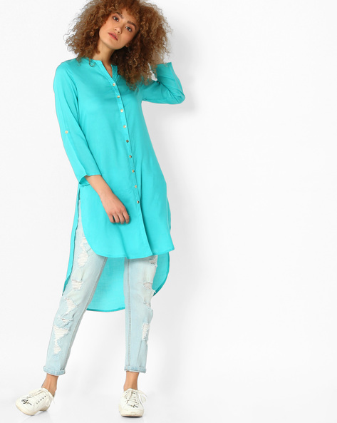 High-Low Kurta With Mandarin Collar By Melange By Lifestyle ( Turquoise )