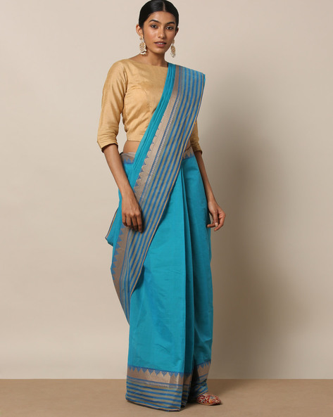 Kanchi Cotton Saree With Woven Border By Indie Picks ( Blue ) - 460164674001