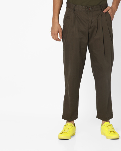 Pleated Ankle-Length Trousers By AJIO ( Beige )