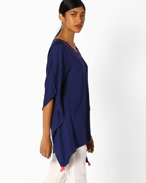 V-neck Top With Asymmetrical Hemline By AJIO ( Blue )