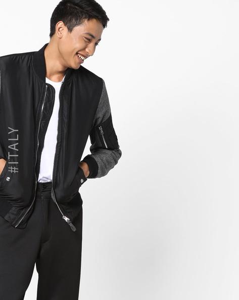 Front-Zip Colourblock Jacket By ALCOTT ( Black )