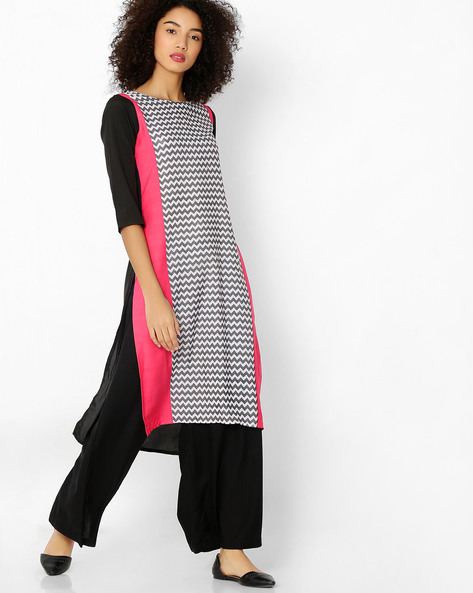 Chevron Print Colourblock Kurta By AVAASA MIX N' MATCH ( Magntafusha )