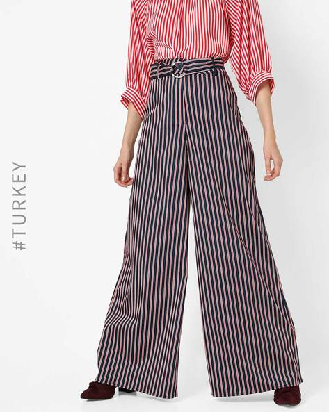 Cotton Striped Palazzo With Fabric Belt By TRENDYOL ( Pink )