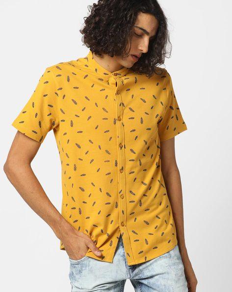 Leaf Print Pique Shirt Shirt With Mandarin Collar By AJIO ( Yellow )