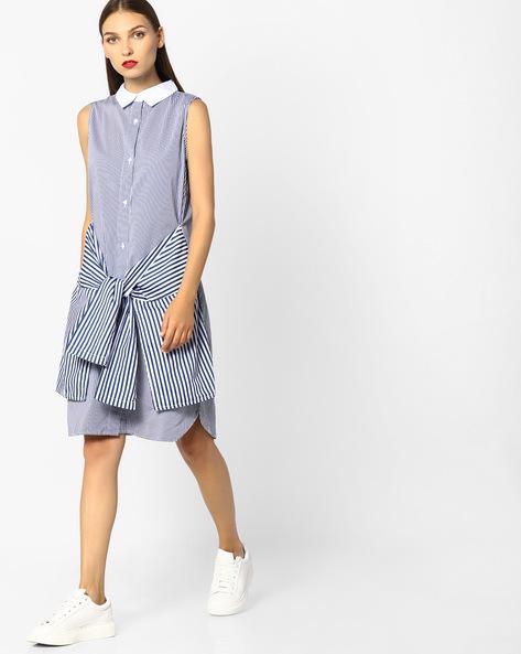 Striped Sleeveless Shirt Dress By Evah London ( Navyblue )