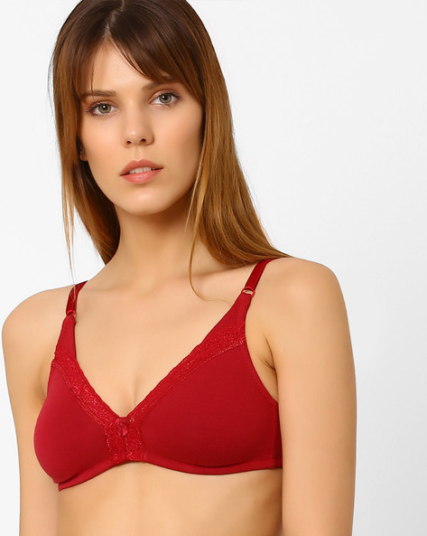 Non-Padded Bra With Lace Inserts By Zivame ( Maroon )