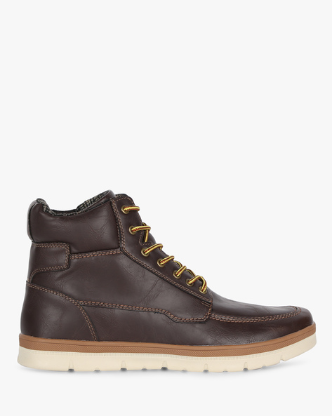Panelled High-Top Casual Shoes By ALCOTT ( Brown ) - 460155137002