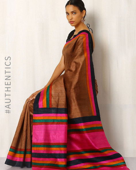 Handblock Print Pure Kosa Silk Saree By Indie Picks ( Brown )