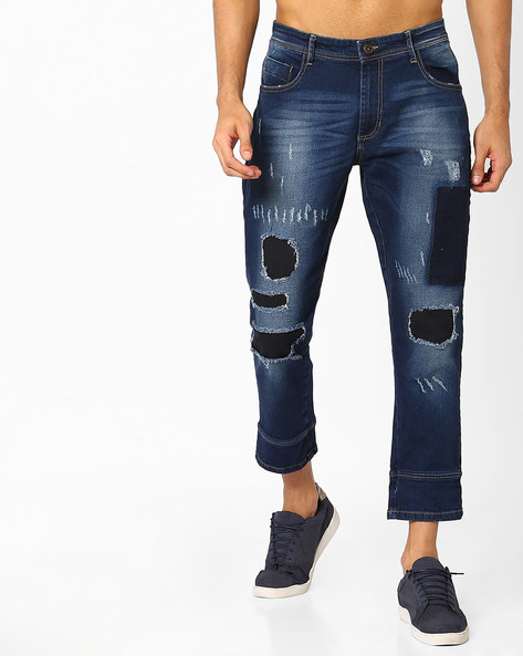 Lightly Washed Cropped Denims By ADAMO LONDON ( Blue )