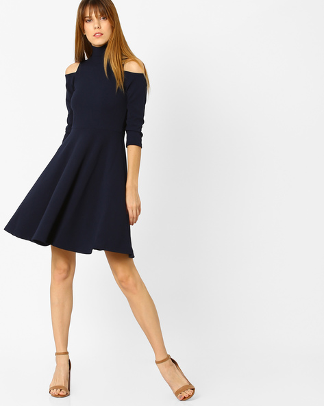 Cold-Shoulder Skater Dress By And ( Navyblue )