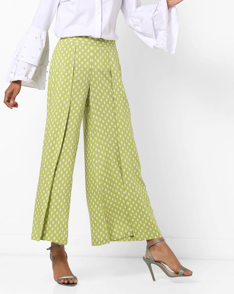 Floral Print Palazzo Pants By AJIO ( Olive )