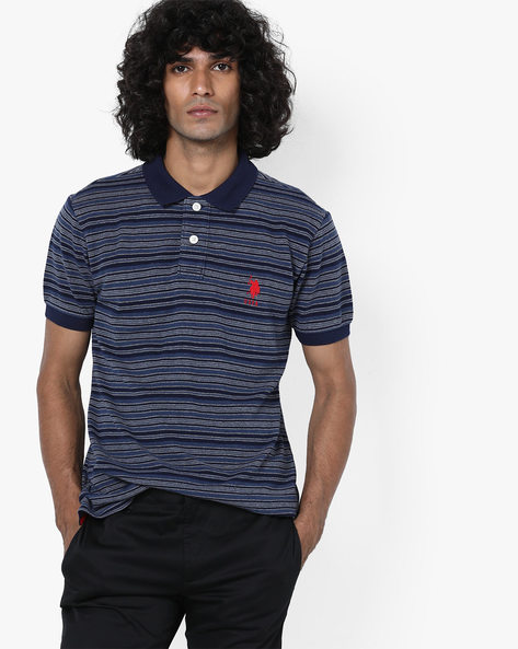 Striped Polo T-shirt By US POLO ( Navy )